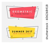 Set of trendy flat geometric vector banners. Vivid transparent banners in retro poster design style. Vintage colors and shapes. Red and yellow colors. | Shutterstock vector #606268418