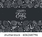 happy easter greeting card.... | Shutterstock .eps vector #606268796