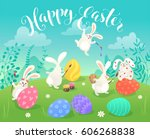 easter greeting card with white ... | Shutterstock .eps vector #606268838