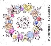 happy easter greeting card.... | Shutterstock .eps vector #606268850
