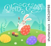 happy easter greeting card with ... | Shutterstock .eps vector #606268988
