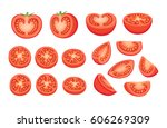 collection of chopped tomatoes... | Shutterstock .eps vector #606269309