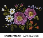 embroidery colorful floral... | Shutterstock .eps vector #606269858
