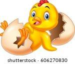 cartoon new born chick | Shutterstock . vector #606270830