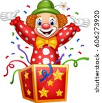 cartoon clown jumping out of... | Shutterstock .eps vector #606273920