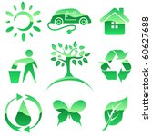 Glossy green vector icons. Nature protection symbols.