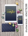 business easter decoration on...   Shutterstock . vector #606278288