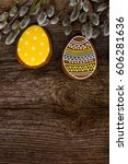 blue  yellow and brown eggs... | Shutterstock . vector #606281636