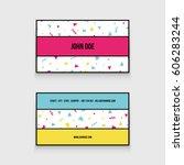 trendy 80s business card  | Shutterstock .eps vector #606283244