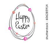 happy easter black typographic... | Shutterstock . vector #606285914