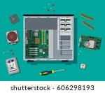 motherboard  hard drive  cpu ... | Shutterstock .eps vector #606298193