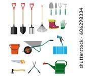 gardening tools set. equipment... | Shutterstock .eps vector #606298334