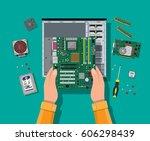 hands with motherboard  hard... | Shutterstock .eps vector #606298439