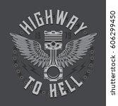 motorcycle piston typography ... | Shutterstock .eps vector #606299450