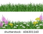 green grass and spring flowers. ... | Shutterstock .eps vector #606301160