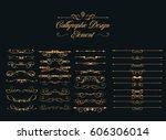 calligraphic design elements  | Shutterstock .eps vector #606306014