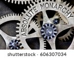 Small photo of Macro photo of tooth wheel mechanism with ABSOLUTE MONARCHY concept words