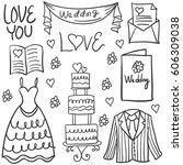 wedding element style hand draw ... | Shutterstock .eps vector #606309038