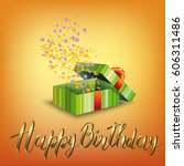 happy birthday card with green...   Shutterstock .eps vector #606311486