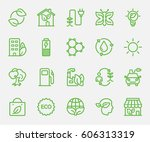 ecology set line icon | Shutterstock .eps vector #606313319