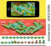 isometric flat 3d design jungle ... | Shutterstock .eps vector #606314084