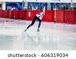 dynamic female speed skater... | Shutterstock . vector #606319034