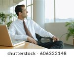 male executive turning away... | Shutterstock . vector #606322148