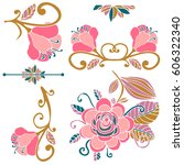 colorful floral collection of... | Shutterstock .eps vector #606322340