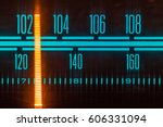 glowing radio with the marker... | Shutterstock . vector #606331094