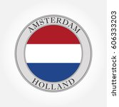 holland flag round icon. the... | Shutterstock .eps vector #606333203