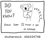 koala sleep   fun trivia... | Shutterstock .eps vector #606334748