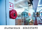 fire alarm on the wall of... | Shutterstock . vector #606335690