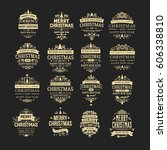 set of 16 golden vintage... | Shutterstock .eps vector #606338810