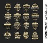set of 16 golden vintage... | Shutterstock .eps vector #606338810