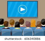 projector screen with financial ... | Shutterstock .eps vector #606340886