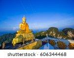 buddha on the hill top at krabi ... | Shutterstock . vector #606344468