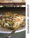 Stock photo healthy low carb summer lasagna with zucchini strips 60634519