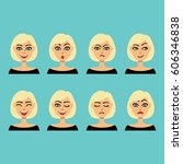 set of facial expressions.... | Shutterstock .eps vector #606346838