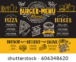 food menu for restaurant and... | Shutterstock .eps vector #606348620