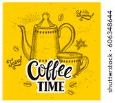 coffee menu graphic element for ... | Shutterstock .eps vector #606348644