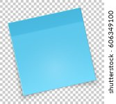 sticky rotated piece of blue... | Shutterstock .eps vector #606349100