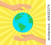 save our planet consept. human... | Shutterstock .eps vector #606352274