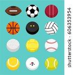 different sport balls collection | Shutterstock .eps vector #606353954