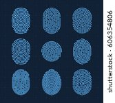 vector fingerprint icons set ... | Shutterstock .eps vector #606354806