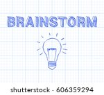 hand drawn brainstorm sign and... | Shutterstock . vector #606359294