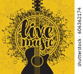 banner with acoustic guitar and ... | Shutterstock .eps vector #606362174