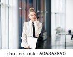 young beautiful girl  office... | Shutterstock . vector #606363890