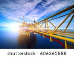 offshore oil and gas rig... | Shutterstock . vector #606365888