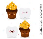 set with cute tooth and cake ...   Shutterstock .eps vector #606368990