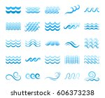 blue sea wave icons or water... | Shutterstock .eps vector #606373238